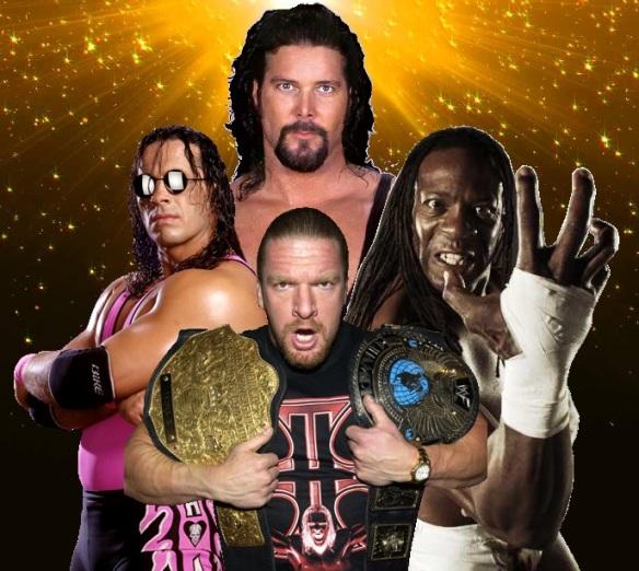 Kevin Nash, Triple H, HHH, Hunter, Bret Hart, Hitman, Booker T, WCW, WWE, title belts, Goldberg, Champion