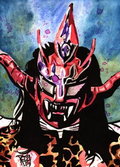 Cwc, Jushin Thunder liger, art, Japan, njpw, painting, mask, portrait, wwe