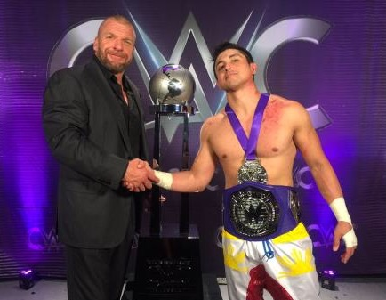 TJ Perkins, HHH, Triple H, CWC, wwe, Cruiserweight champion, trophy, finals